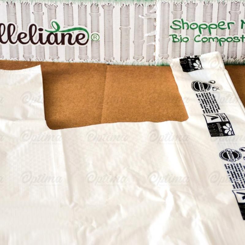 Shopper t-shirt mater-bi Milleliane cm 30+10x55 gr. 11