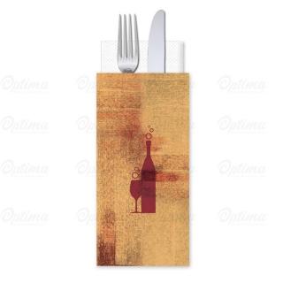 Busta portaposate Carta Paglia Vino Rosso con tovagliolo 38x38