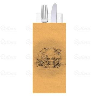Busta portaposate Carta Paglia Birra con tovagliolo 38x38