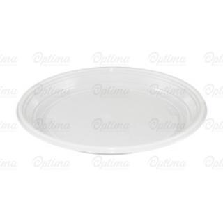 Piatto plastica bianca piano gr 6,5 Ø cm 20