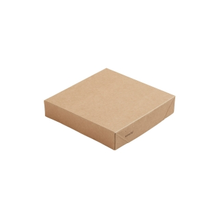 Coperchio in cartoncino avana  laminato in PLA cm 14x14x2,9 per scatola avana  cm 14x14x7,5