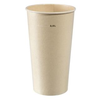 Bicchiere in polpa di cellulosa laminato in PLA ml  590  tacca 500 Biodegradabiele e compostabile