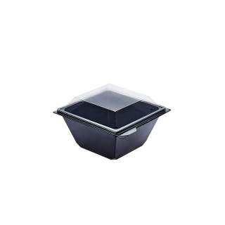 Vaschetta nera Takipack con coperchio cm 11,4x11,4x5,5 cc 370