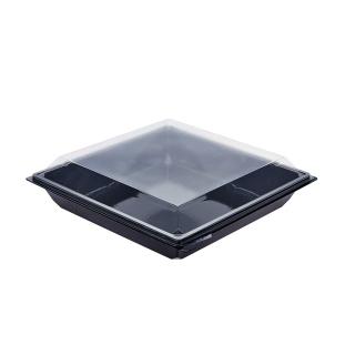 Vaschetta nera Takipack con coperchio cm 18x18x3 cc 700