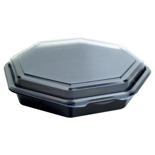 Contenitore Octaview nero con coperchio cm 23x23x5  ml 1000