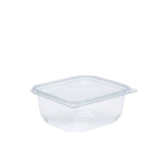 Vaschetta in PET rettangolare con coperchio cc 500 cm 13,8x12,6x5,8