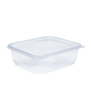 Vaschetta in PET rettangolare con coperchio cc 1000 cm 18,4x15,7x6,1
