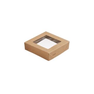 Coperchio in cartonc. avana con fin. in PLA cm 11,3x11,3x2,9 per scatola  cm 11,3x11,3x5