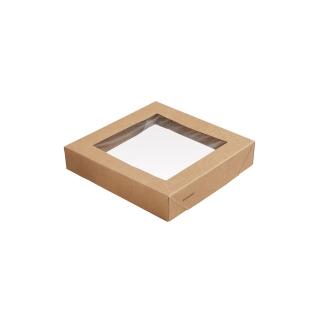 Coperchio in cartoncino avana con finestra in PLA cm 14x14x2,9 per scatola avana  cm 14x14x7,5