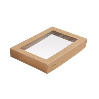 Coperchio in cartoncino avana con finestra in PLA cm 20x14x3 per scatola avana  cm 20x14x4,5