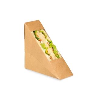 Porta tramezzino in cartoncino avana con finestra cm 12,3x5,2x12,3