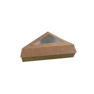 Scatola triangolare avana di cartoncino per fetta di torta  cm 17x17x13
