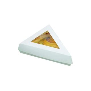 Scatola triangolare bianca di cartoncino per fetta di torta  cm 17x17x13