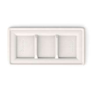 Piatto rettangolare tris-comparto in polpa di cellulosa cm 26x13