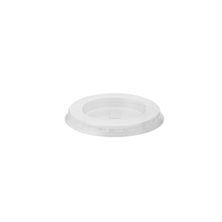 Coperchio piatto con pretaglio cannucia per bicchiere in PLA Bio cc 390