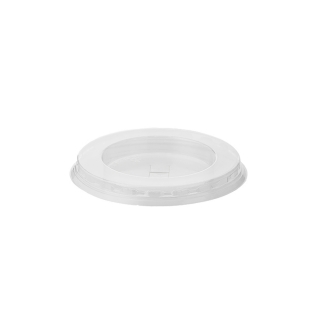 Coperchio piatto con pretaglio cannucia per bicchiere in PLA Bio cc 630
