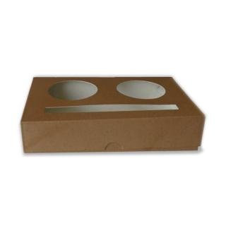 Cestino porta bicchieri Brown cm 15,8x10x3 in cartoncino riciclato 2 posti (per bicchieri 3oz/4oz)