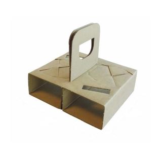 Cestino porta bicchieri 2 posti cm 15x12,5 in cartoncino riciclato avana