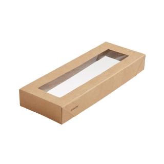 Coperchio in cartoncino avana con finestra in PLA cm 22,5x8,5x3 per scatola avana cm 22,5x8,5x7,5