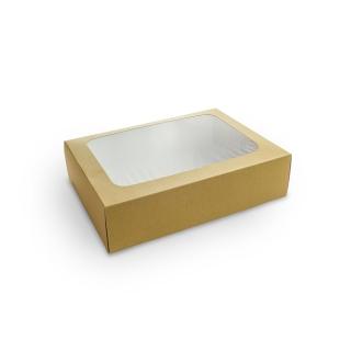 Scatola di cartoncino con fionestra in PLA e iinserto  cm 31x22,5x8,2