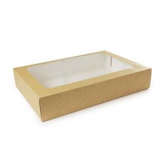 Scatola di cartoncino con fionestra in PLA e iinserto  cm 45x31x8,2