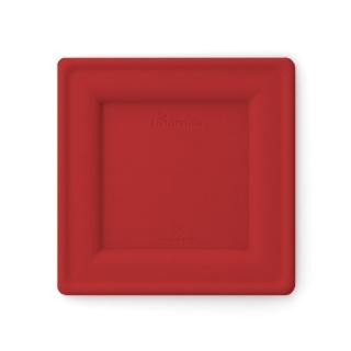 Piatto quadrato in polpa di cellulosa rosso cm 20x20