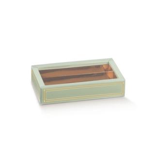 Scatola pasticceria Elegance verde con inserto e fascetta trasparente cm 14,5x7,5x3,5