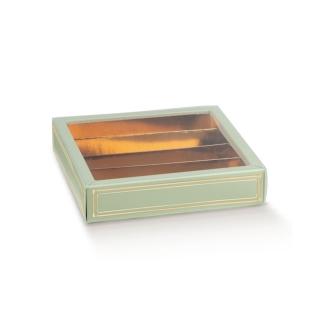Scatola pasticceria Elegance verde con inserto e fascetta trasparente cm 14,5x14,5x3,5