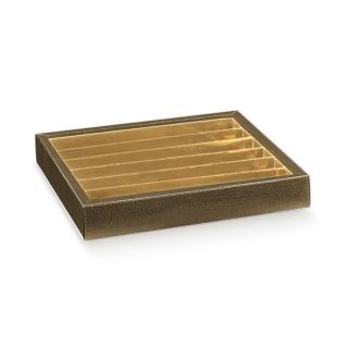 Scatola pasticceria Elegance marrone con inserto e fascetta trasparente cm 21,5x21,5x3,5