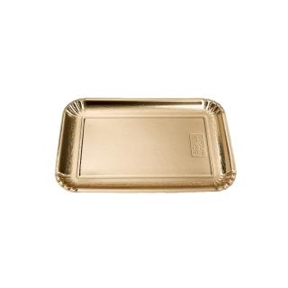 Vassoio di cartone rettangolare oro mis 6 cm 21x31