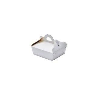 Scatola porta paste bianca damascata interno oro cm 13,5x15,5
