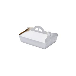 Scatola porta paste bianca damascata interno oro cm 17x24