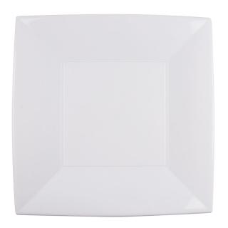 Piatto Nice in polipropilene bianco riutilizzabile cm 29x29
