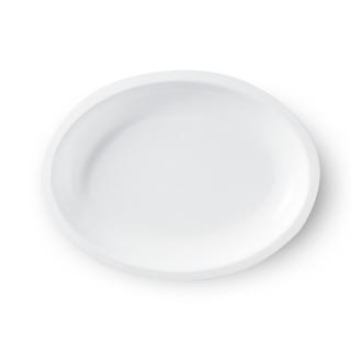 Piatto bianco ovale in polipropilene cm 25,7x 19,4