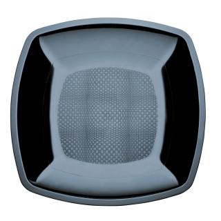 Piatto di plastica nero cm 23x23x1,8
