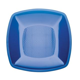 Piatto di plastica blu cm 23x23x1,8