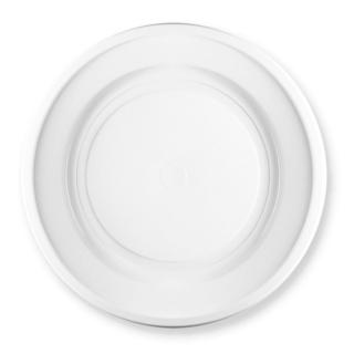 Piatto di plastica bianca fondo rigido gr 12 Ø cm 22
