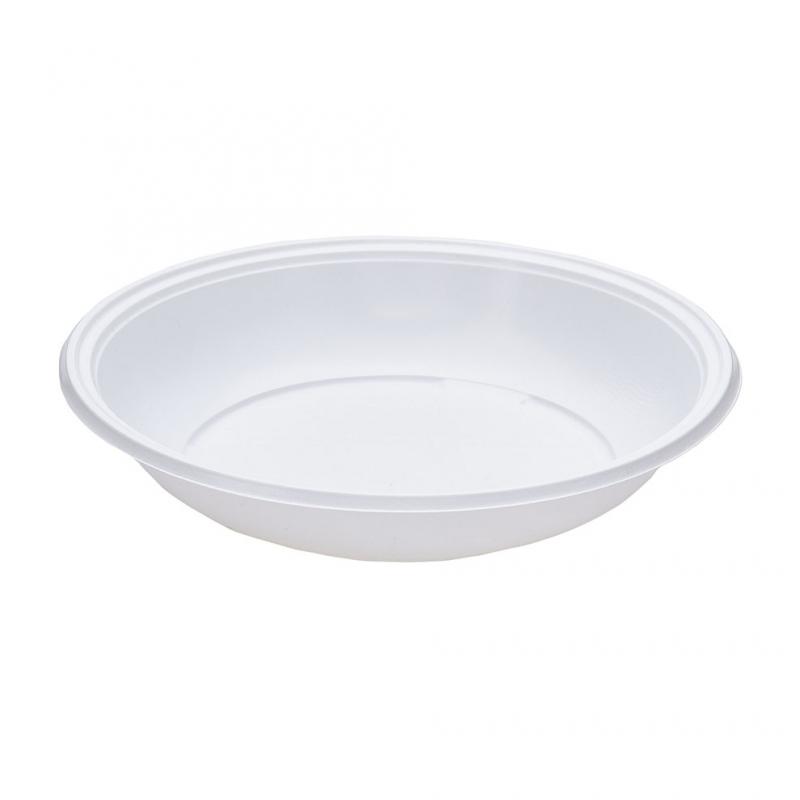 Piatto di plastica bianca fondo rigido gr 12 Ø cm 21