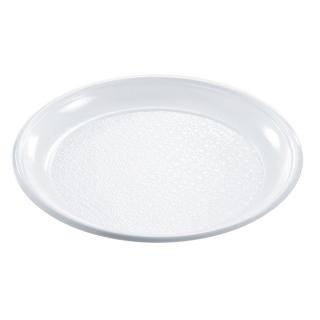Piatto plastica bianca piano cm 25x25x2,5 gr 15