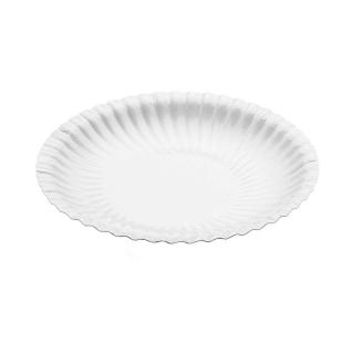 Piatto bianco in cartoncino politenato diametro cm 18