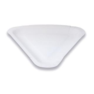 Piatto bianco triangolare in cartoncino accoppiato 1/8 di pizza