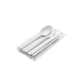Tris posate plastica bianca con tovagliolo cm 30x30 1 velo