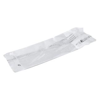 Set forchetta plastica trasparente prestige con tovagliolo cm 30x30 1 velo