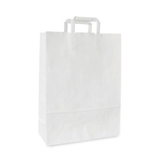 Shopper di carta bianca con manico piatto cm 23x10x32 gr 80