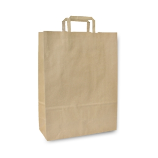 Shopper di carta avana riciclata con manico piatto  cm 23x10x32 gr 80