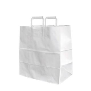 Shopper di carta bianco con manico piatto cm 26x16x29