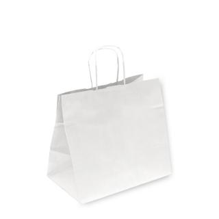Shopper di carta bianco con manico ritorto cm 26+17x24