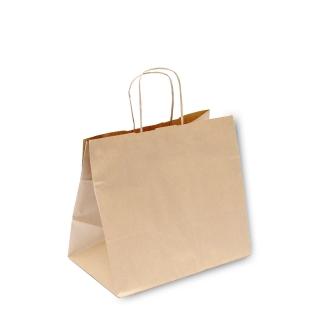 Shopper di carta avana con  manico ritorto cm 26+17x24