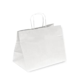 Shopper di carta bianco con manico ritorto cm 26+20x27