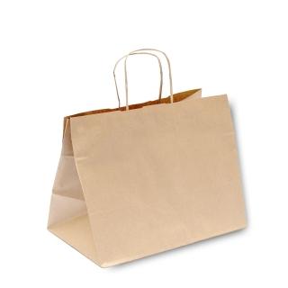 Shopper di carta avana con manico ritorto cm 26+20x27